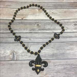 Black and Gold Fleur De Lis Necklace